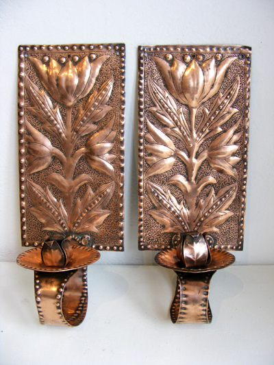 Pair of copper Arts and Crafts wall sconces attrib. John Williams