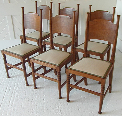 Arts crafts set of 6 dining chairs by william birch - Arts and crafts dining room furniture ...